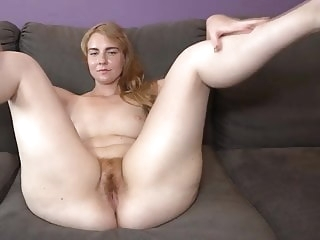 close-up blonde MILF hairy beaver