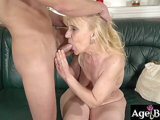 blonde big cock Jason is just around ready to fill Old Nanneys vintage pussy