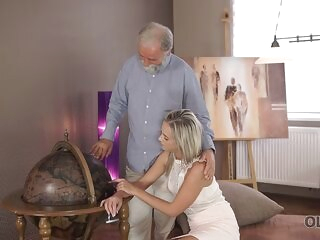 blowjob blonde OLD4K. Nice cock of old teacher was main target for slutty beauty