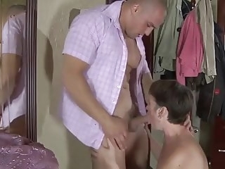 mature blowjob Mom with flabby body, saggy tits & muscled guy